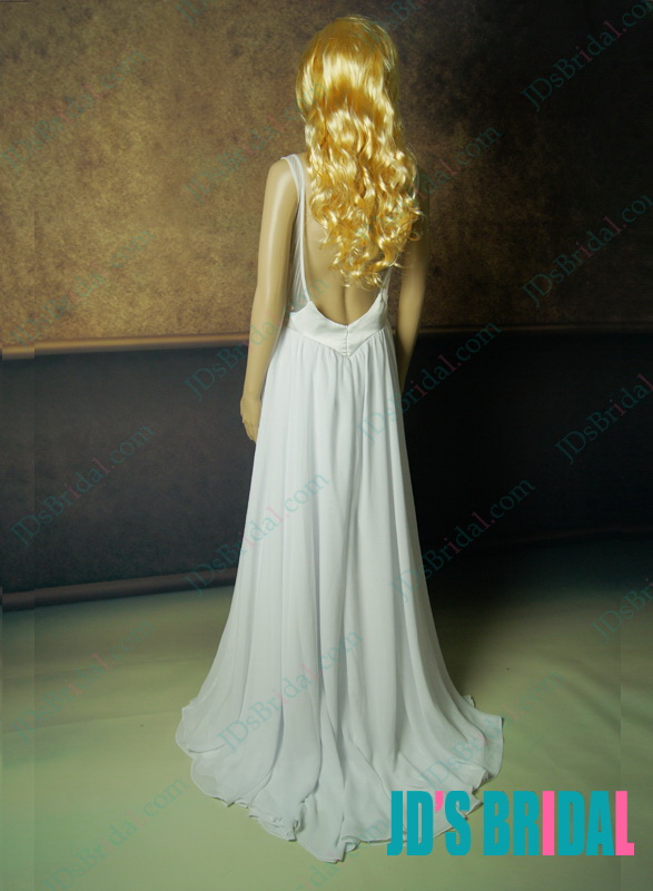 JDP012 sexy backless openback lace chiffon flowy wedding dress inspired after wandaborges Mousseline e renda