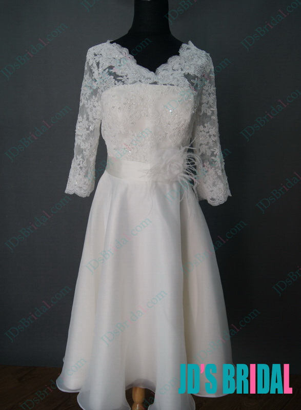 JID042L 1950s vintage lace bridal wedding dress with long sleeves