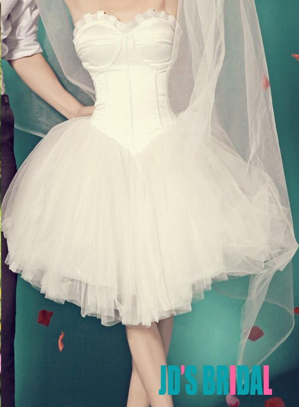 JOL132 Sweetheart boned ballet short tulle wedding party dress
