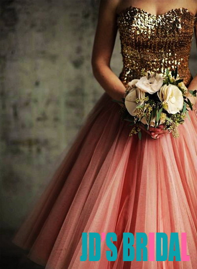 JOL156 Sparkle gold sequins peach pink short party prom dress