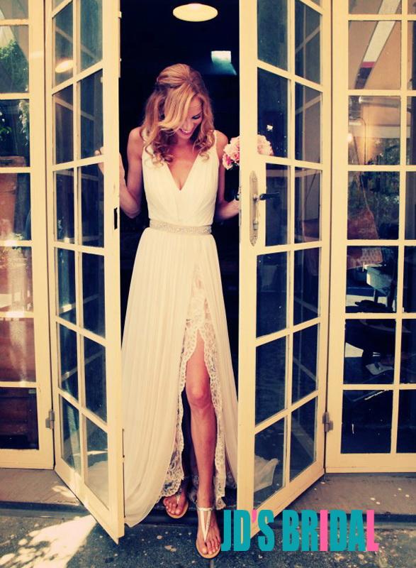 Jol166 Romantic Boho Chiffon And Lace Underlay Slit Wedding