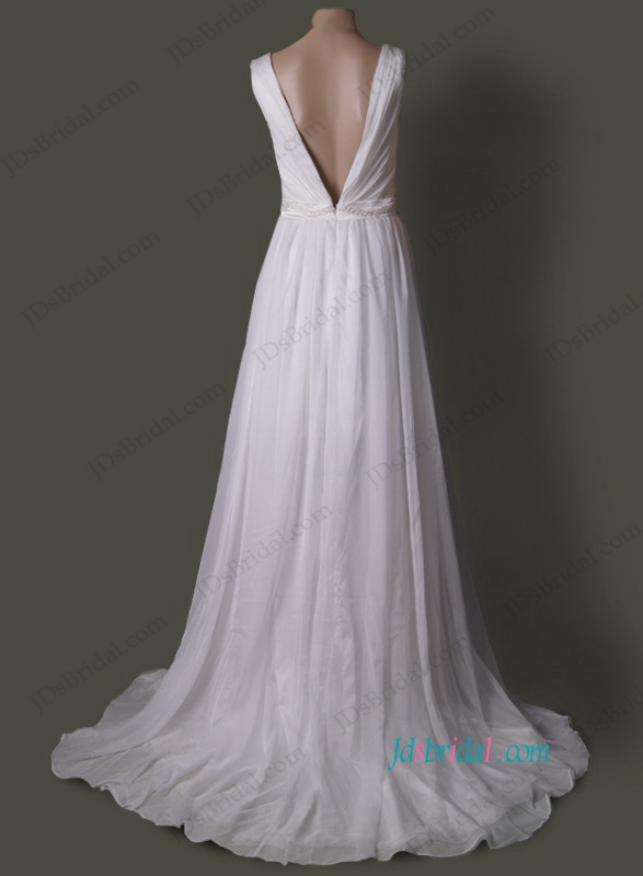 JOL166 Romantic boho chiffon and lace underlay slit wedding dress