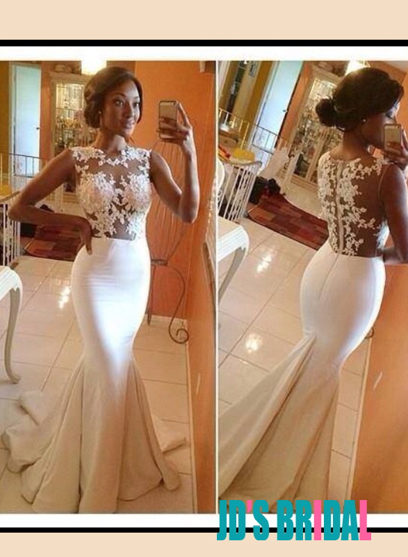 Jewel neck wedding dresses luxury sparkly mermaid lace for Wedding dress with illusion top