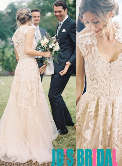 Jol212 Vintage Blush Lace Plunge V Neck Tulle Wedding Dress
