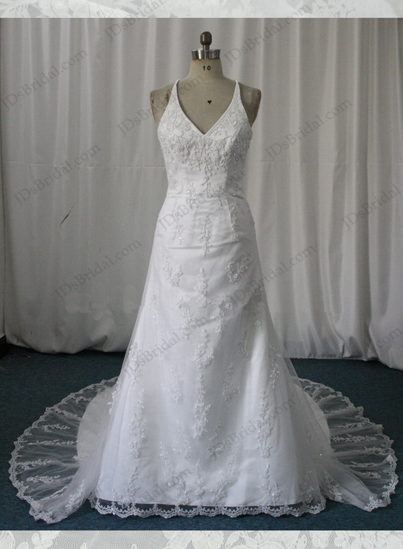 JW11001 halter white lace wedding dress bridal gowns
