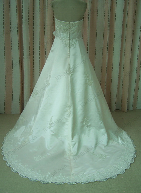 Vintage lace satin wedding dresses with bow belt