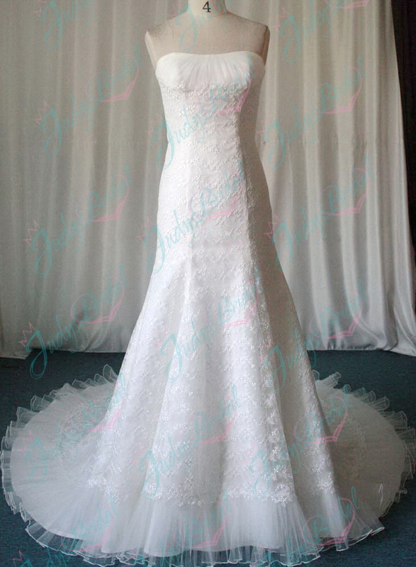 JW11028 Strapless lace mermaid gown wedding dresses