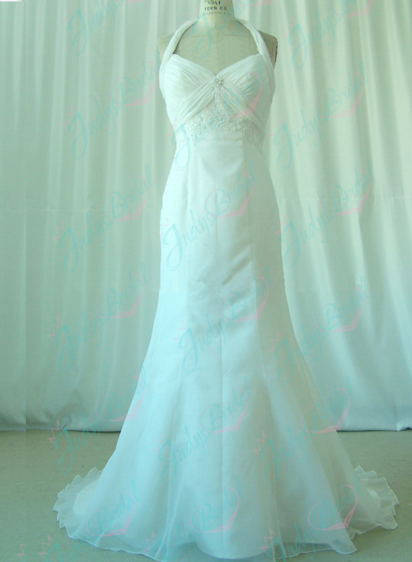 JW11036 halter organza beach wedding gown bridal dress