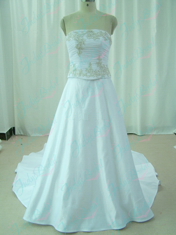 JW11047 strapless white satin wedding gowns shop