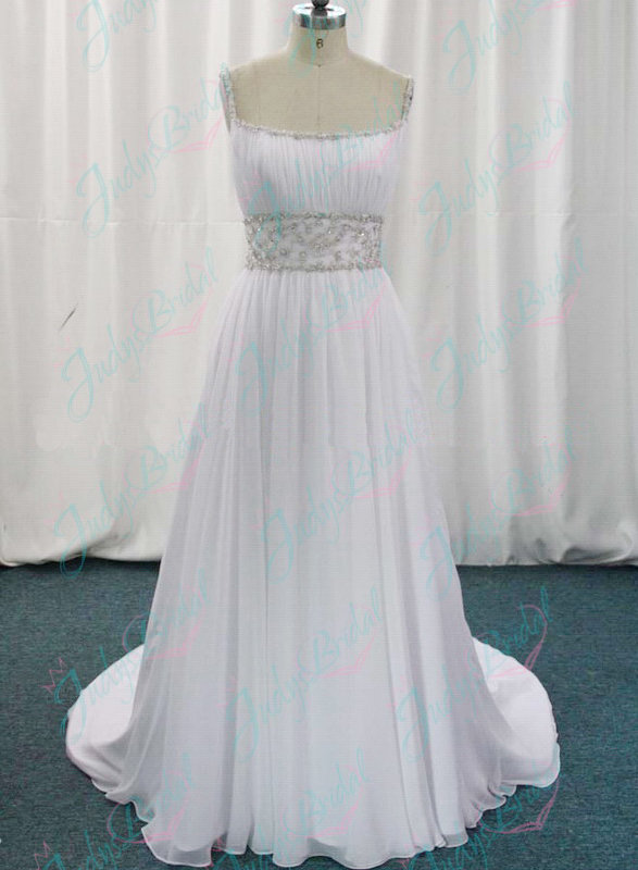 Inspired designer athena wedding dress with spaghetti straps and flowy chiffon skirt for beach outdoor wedding
