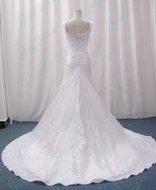 2011 strappy scoop necked white taffeta wedding dress a line skirt