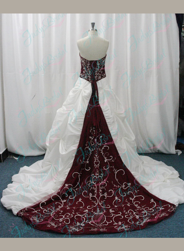 JW11076 Burgundy ball wedding bridal dresses