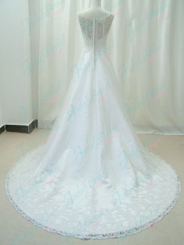 romance illusion beaded lace modest a line wedding dress