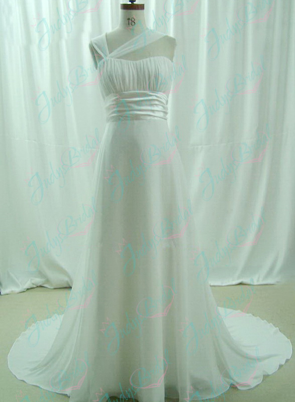 JW11083 romantic cheap one shoulder chiffon beach wedding dresses