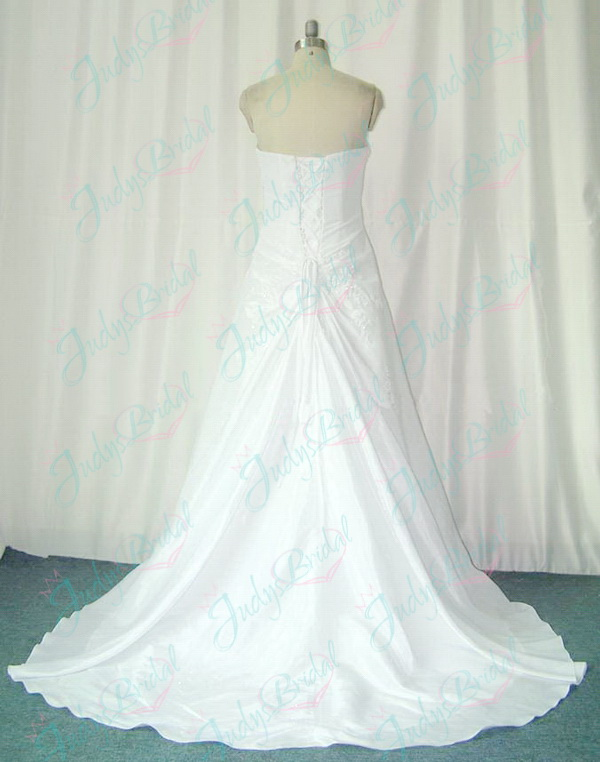 simple plus size white taffeta wedding dress a line gowns
