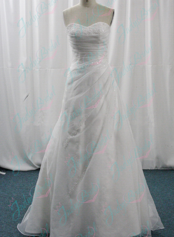 simple cheap a line sweetheart neck tulle wedding dress