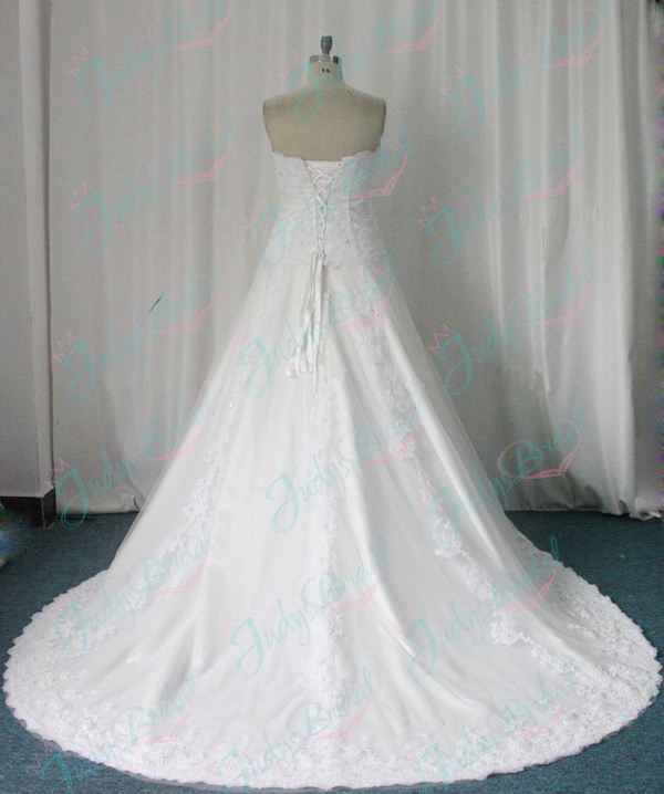 Mock two pieces sweetheart neck a line wedding bridal dress
