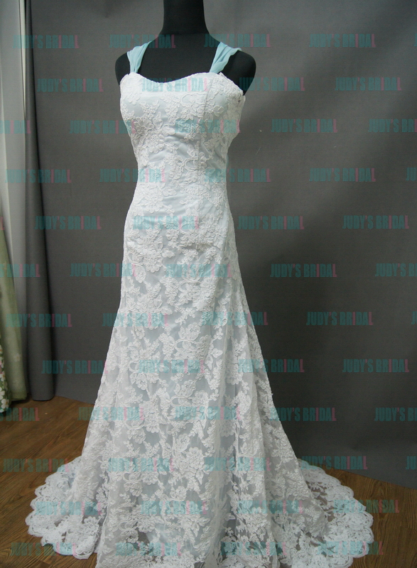 JW13205F romantic blue lace wedding dress with cap sleeves