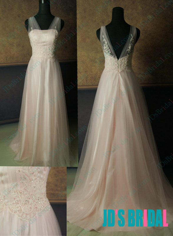 JW14091B peach pink colored airy flowy illusion necked tulle wedding dress