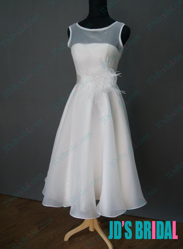 JWD106 simple vintage tea length white wedding dress on sale