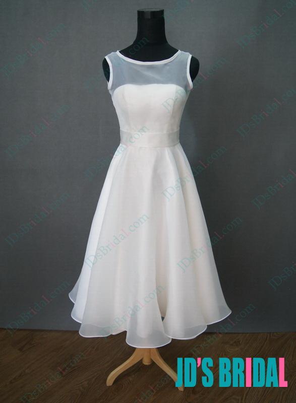JWD106 simple vintage tea length white wedding dress on sale :