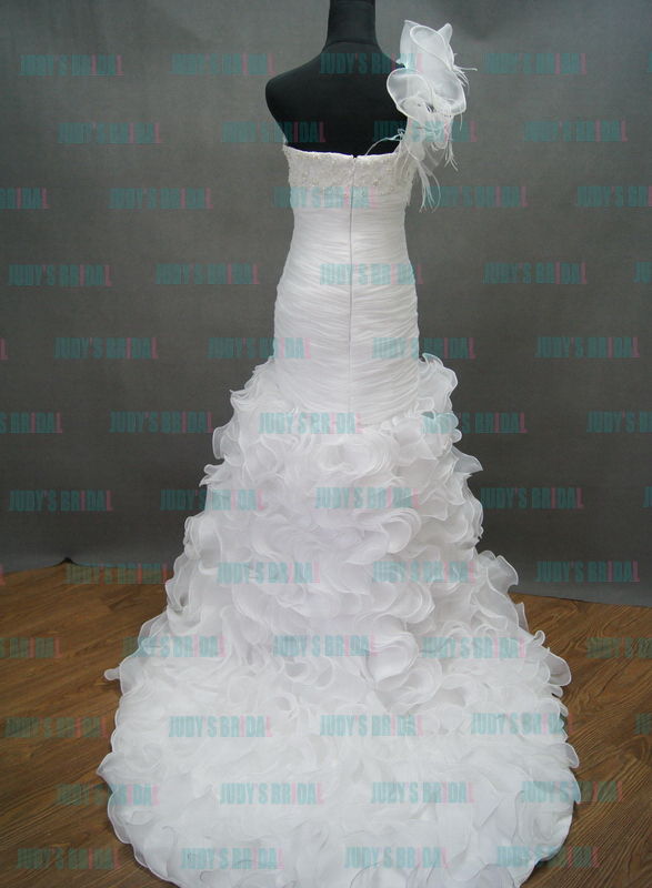 one shoulder strap white organza high low wedding dress with ruffles bottom