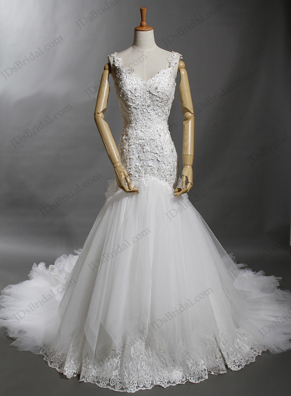 LJ130 Luxurious straps open back lace mermaid wedding dress with cathedral train