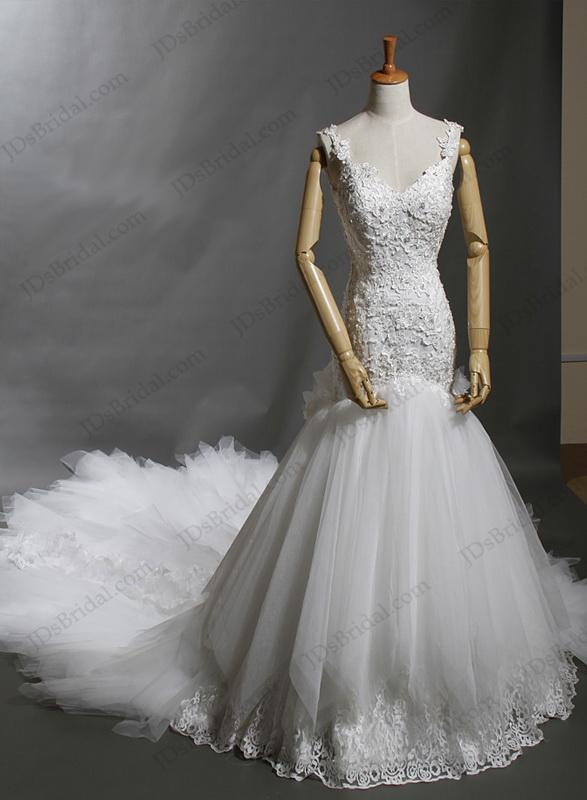 Mermaid Wedding Dress With Cathedral Train : Straps open back lace mermaid wedding dress with cathedral train
