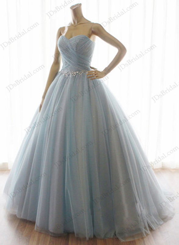 Lj131 Grey Blue Color Crystals Princess Ballgown Wedding Dress