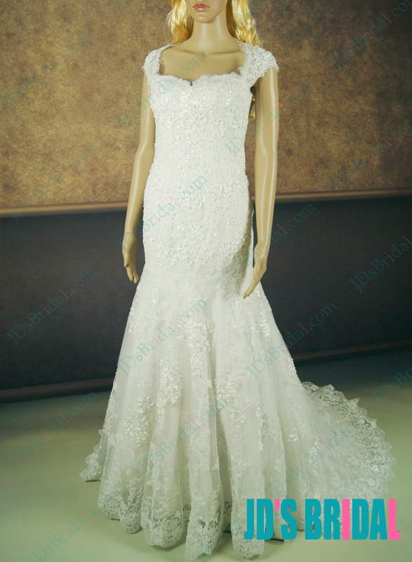 lj145 beautiful fitted lace wedding dress with cap sleeves