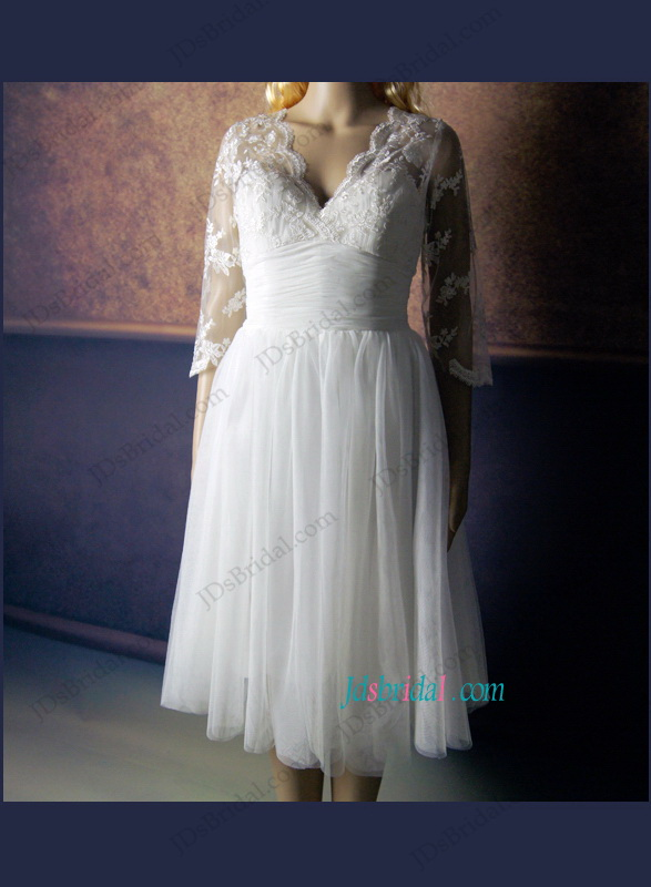 LJ147 1950s inspired vintage short lace wedding dress with sleeves
