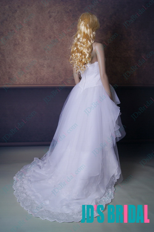 2014 new romantic  boho summer beach lace wedding dress with short front long back high low hem and full flow tiered organza skirt bottom