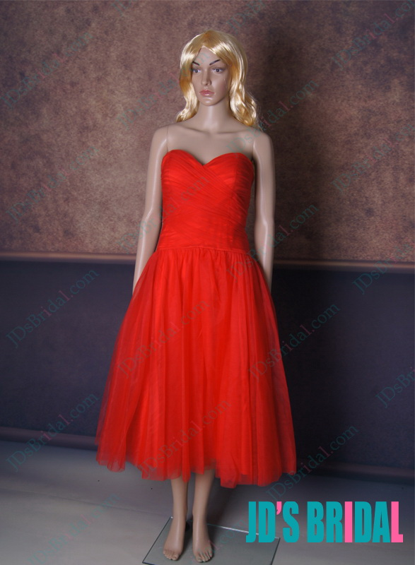 LJ154 red color sweetheart tulle tea length prom party dress