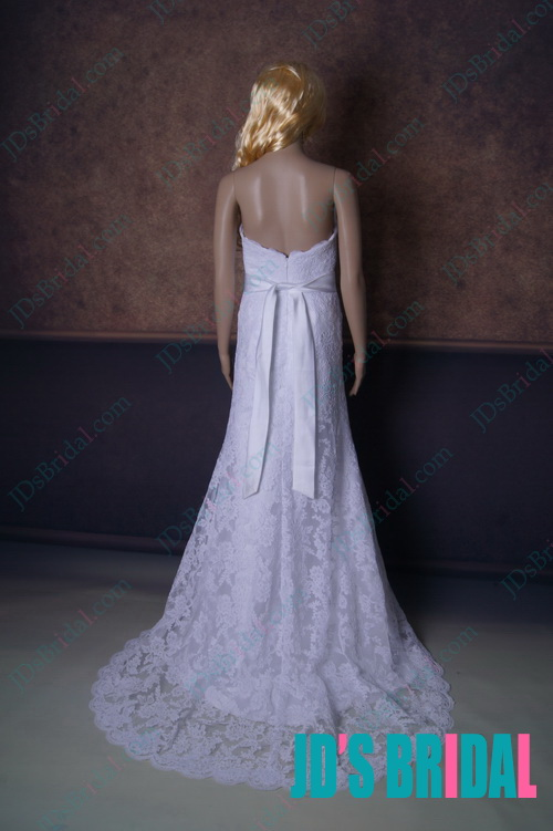 2014 NEW romantic strapless a line white full lace overlay beach garden wedding celebrity dress with handmade flowers sash