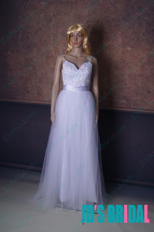 LJ156 sexy boho spaghetti straps low back airy tulle wedding dress