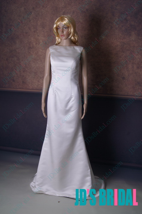 LJ157 Hot sexy backless simple satin sheath bridal wedding dress
