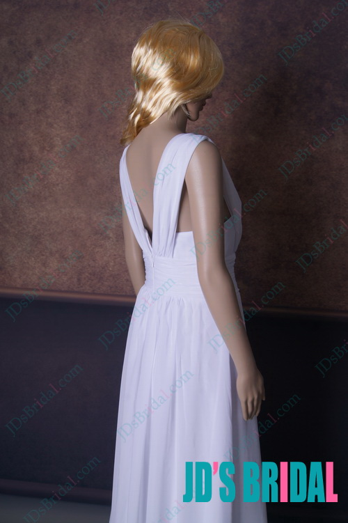 LJ158 sexy white low plunging strappy long chiffon prom dress