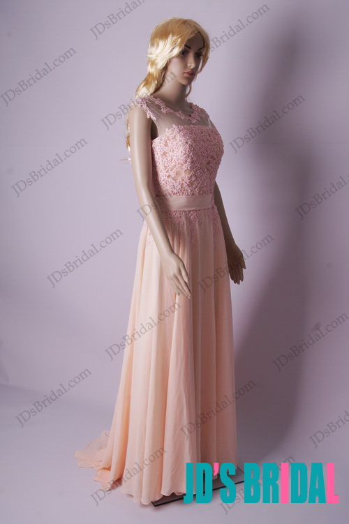 peach coral colored florals v back illusion lace  overlay top long chiffon evening prom dress for graduation party