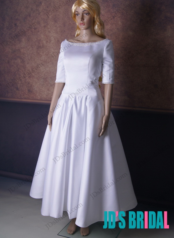 Lj164 1950s vintage inspired ankle length half sleeved for Ankle length wedding dress with sleeves