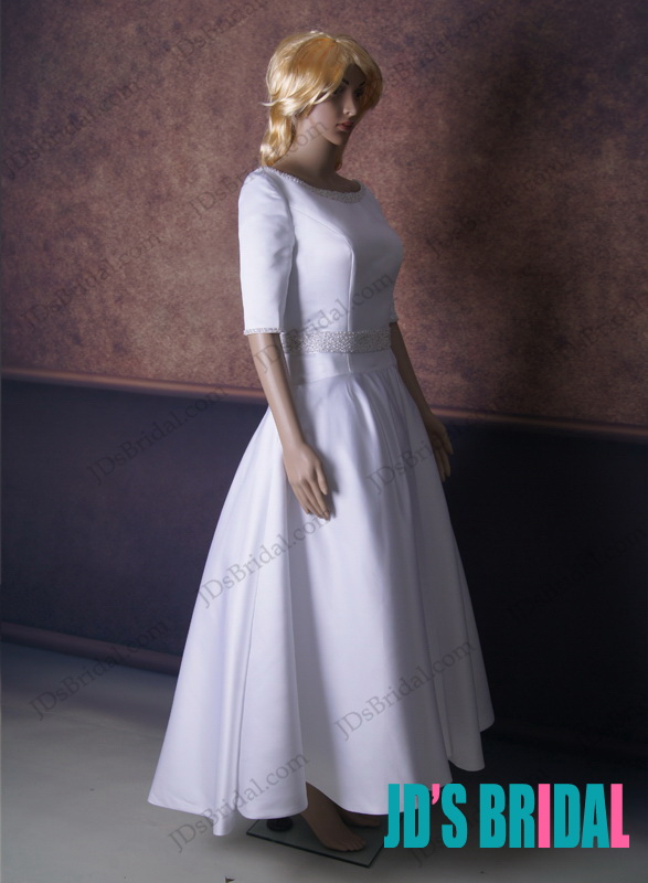 LJ164 1950s vintage inspired ankle length half sleeved wedding dress