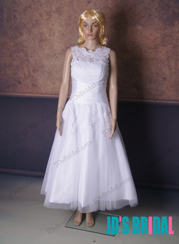 LJ168 vintage illusion lace top ankle length wedding dress