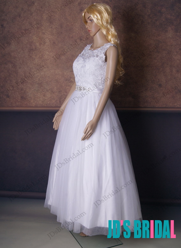 1950s 60s inspired lace vintage ankle short length full a line white bridal wedding dress will illusion neck  and  v back