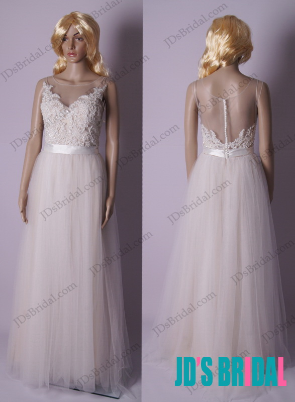 LJ170 sparkles beading airy flowy sheer back tulle wedding dress