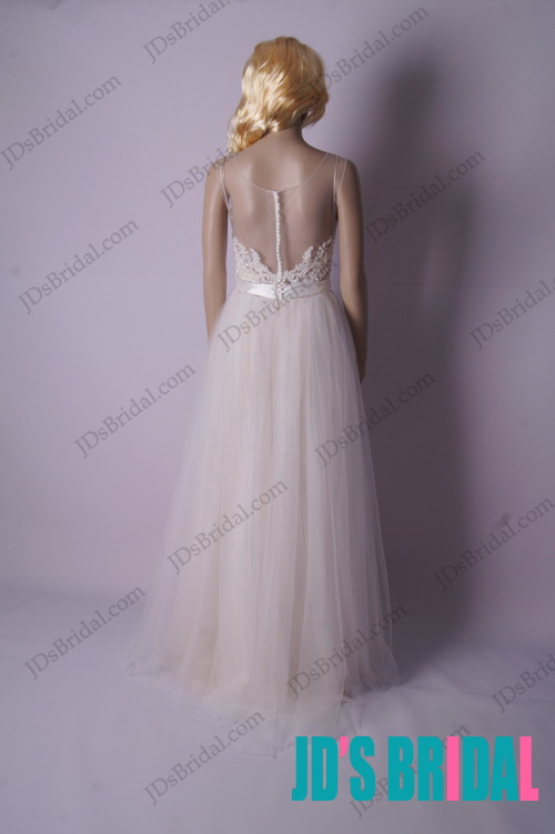 stunning boho airy light tulle bridal wedding dress with see through back for beach wedding