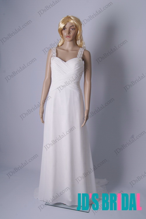 simple cheap 2014 beading strappy chiffon long wedding dress with sexy v back design