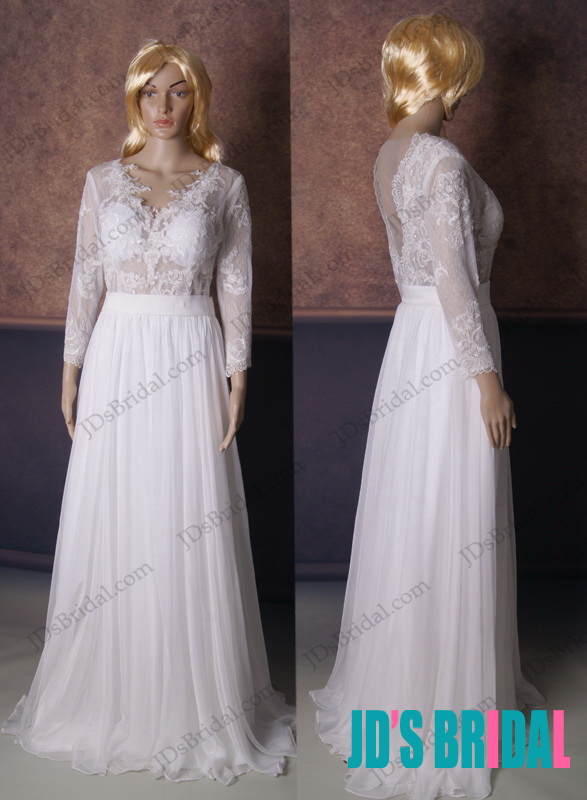 LJ172 sexy custom see through long sleeved lace flowy wedding dress