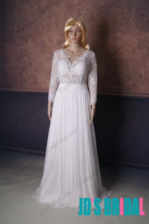 sexy see through lace top floor length chiffon bridal wedding dress with deep v back and long sleeves