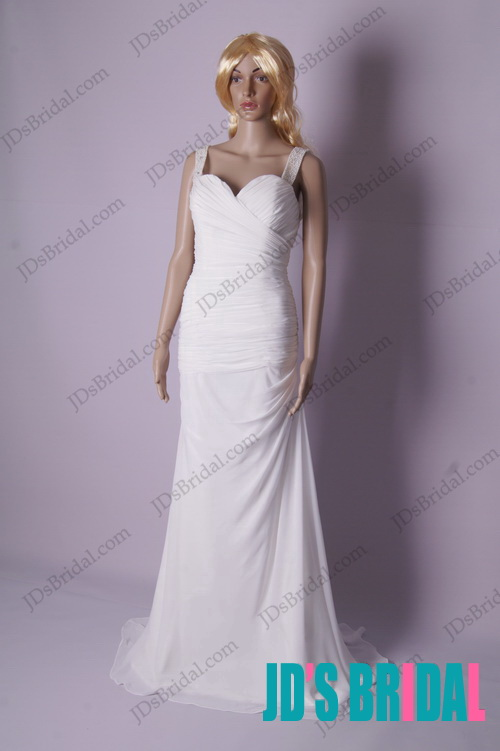 LJ174 beading strappy draped chiffon sheath backless wedding dress