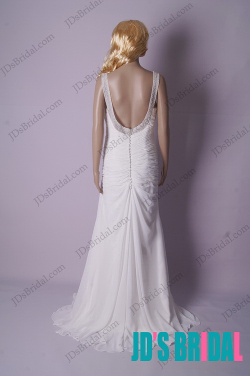 beading strappy sweetheart necked backless open back chiffon beach wedding dress for summer wedding party