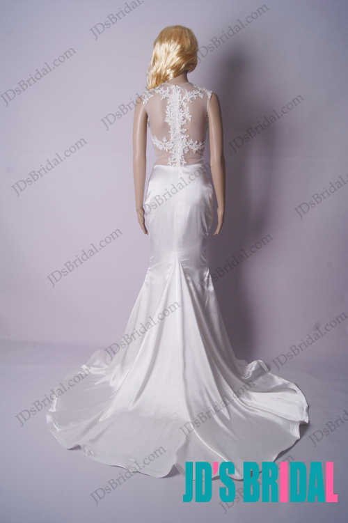 LJ176 sexy see through lace top mermaid wedding dress prom gown